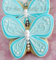 Ali Bee's Bake Shop: Beautiful butterfly Bridal Shower cookies. (say that fast 3 times. Lol)