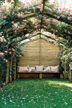 Cottage Landscape/Yard with Trellis, Laura Ashley Geranium Red Applique Cushion, rustic pergola, rose bower, Pathway, Arbor