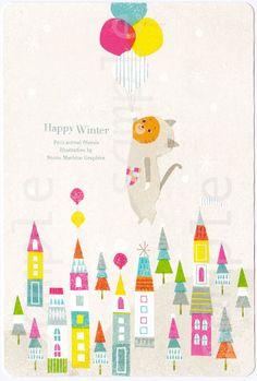 【楽天市場】【Happy winter】カラフルでちょっとなつかしいタッチで動物のイラストを制作・可愛い動物・アニマル・人気ポストカード・ねこ・ネコ・風船・winter・冬・雪:SAN AI HANDMADE