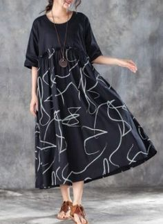 baggy cotton blended maxi dress plus size Women Cotton blended Loose Summer Dress with Lace Half Sleeve Dresses, Plus Size Maxi Dresses, Summer Dress Outfits, Casual Summer Outfits, Summer Maxi, Summer Wear, Linen Dresses, Cotton Dresses, Stylish Dresses