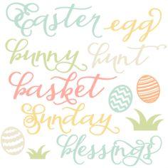 Easter Word Set scrapbook cuts SVG cutting files doodle cut files for scrapbooking clip art clipart doodle cut files for cricut free svg cuts