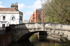 Duke Street Bridge, Reading Duke Street Bridge across the Kennet and Avon Canal, looking west towards the Oracle Shopping Centre. A picture of: Reading