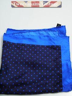 Hand rolled silk pocket square navy royal blue polka dot NEW