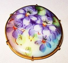 Victorian Porcelain Brooch Pin Hand Painted Pansy Flowers by BrightgemsTreasures, $34.50