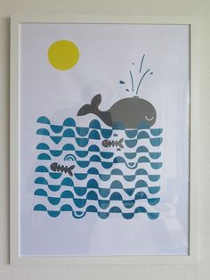 Whale Move on, ignore the rotten fish. Silkscreen on paper. Framed 60x40 cm