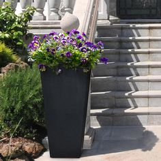 Dress up your patio, deck, balcony or any outdoor living space with this Tierra Verde self-watering, rubber planter. Made from recycled rubber, these one-of-a-kind pots boast unbreakable with intended Plastic Planter, Planter Pots, Floors And More, Self Watering Planter, Outdoor Material, Recycled Rubber, Plant Needs, Water Plants, Outdoor Plants
