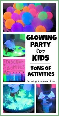 GLOWING party for kids - tons of activities in the post including a glowing ball pit, homemade glowing bubbles, GOOP, GLOWING jello, paint Party Fiesta, Blacklight Party, Do It Yourself Inspiration, Glow Party, Party Party, Holidays And Events, Party Games, Party Planning, Activities For Kids