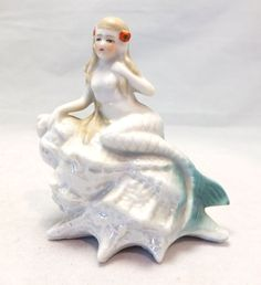 Vintage Bathing Beauty Bisque Mermaid Figurine on conch shell