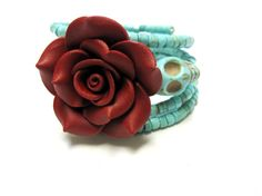 Day Of The Dead Bracelet Sugar Skull Jewelry by sweetie2sweetie, $27.99