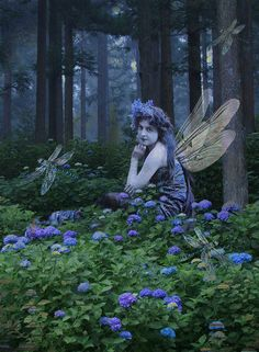 by Romany Soup / forest fairy / faerie in the woods / romantic victorian style Forest Fairy, Fairy Land, Fairy Dust, Beautiful Fairies, Beautiful Artwork, Legends And Myths, Flower Artwork, Goth Art, Mystique