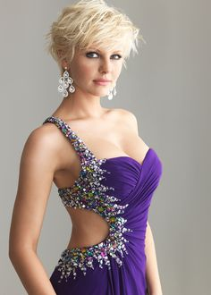 New 2013 Prom Dress,  Night Moves by Allure 6666 purple beaded evening gown available now at RissyRoos.com..