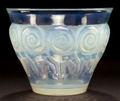 R. LALIQUE OPALESCENT GLASS RENNES  VASE  Circa 1933  Stenciled: R. LALIQUE, FRANCE  4-3/4 inches high (12.1 cm)