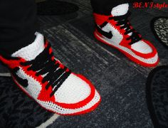 Nike Air Jordan Shoes, Crochet Converse Slippers, Adult Shoes, House Slippers, Mens Crochet Shoes, Mens Crochet Adult Converse Slippers,  ♥ By purchasing this item you confirm that you have read and accepted entire item description and shop policies ♥ Please note that computer monitor can shift colors - real colors may slightly differ from their appearance on your display.  Production time is 4-5 weeks. That time is not subject to delivery time, if you want to know the approximate delivery…
