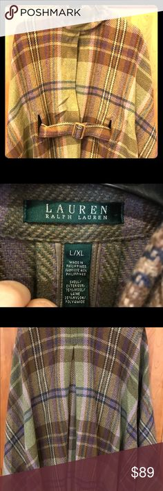 Ralph Lauren plaid cape / poncho Leather ties at neck. The front has comfortable openings for your arms to be mobile. You will be elegant and warm this winter. 💃🏻🧣👠❄️ Lauren Ralph Lauren Jackets & Coats Capes