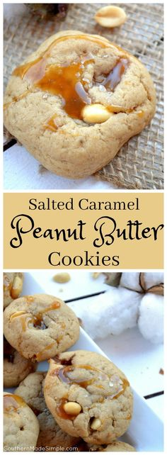 Salted Caramel Peanut Butter Cookies - Do you have a favorite food that ALWAYS makes you think of home? As an Alabama native, peanuts are king. These Salted Caramel Peanut Butter cookies represent this beautiful state so well, and they're absolutely delic