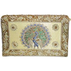 Preowned Vintage Gold Metallic Embroidered Peacock Evening Bag /clutch ($375) ❤ liked on Polyvore featuring bags, handbags, clutches, gold, embroidered handbags, beige clutches, evening handbags, shoulder strap purses and vintage evening handbags