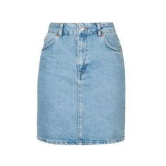 TopShop Tall High Waist Denim Mini ($38) ❤ liked on Polyvore featuring skirts, mini skirts, bottoms, bleach, high-waist skirt, denim skirt, a line mini skirt, short denim skirts and a line skirt