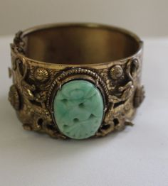 Antique Chinese Carved Jade Dragon Bracelet