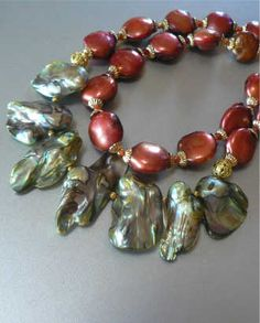 Blister Mabe Coin Green Brown Freshwater Cultured Pearl Designers Necklace 2 R