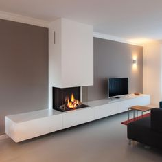 Bench storage all along lounge wall? Living Room Tv, Gas Fireplace Ideas Living Rooms, Living Room Tv Unit Designs, Living Room Decor Fireplace, Home And Living, Living Room Designs, Living Room Remodel, Contemporary Fireplace, House Interior