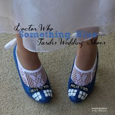 """Something Blue"" TARDIS shoes (I'm not too sure about the bow on the back, but otherwise these look awesome!)"