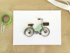 Celebrating Pantone's Color of the Year, Greenery, with this sweet green bike! https://www.etsy.com/listing/266666244/quilling-paper-green-bicycle-with-brown
