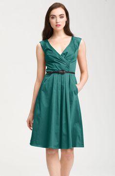 Belted V-neck Fit & Flare Dress - Lyst