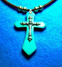 Show Your Faith+HUGE TURQUOISE Magnesite CROSS 85mm With Sterling 50mm…