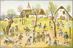 Lada Josef 1887–1957 | Dětské hry na jaře, 1936 | Aukce obrazů, starožitností | Aukční dům Sýpka Vintage World Maps, Folk Art, Painter, Illustration, Painting, Retro, Art, Pictures, Folk