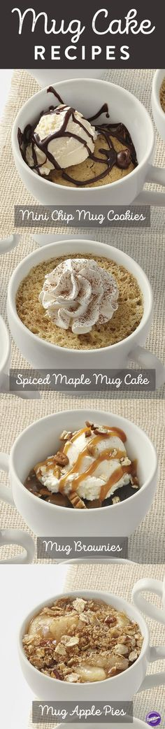 Make individual mug cakes in just minutes!  Here are 4 mug cake recipes for Mini Chip Cookies, Spiced Maple Cake, Brownies and Apple Pie.