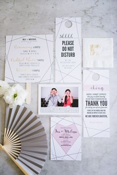 Modern geometric wedding invitations | Image by Hazelnut Photography