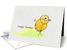 This cute Easter card has a simple doodle in black ink and then with yellow watercolor, it was loosely colored in. The Little Chick stands on a watercolor swatch. The words Happy Easter on the left of the chicken and it is typed with typewriter font. This image was hand drawn then scanned and uploaded into a digital image.