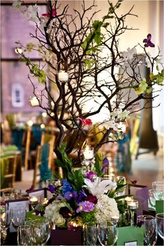 Colorful Manzanita branches for centerpieces!