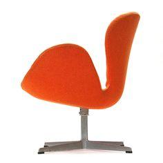 arne jacobsen: #orange swan swivel #chair #vintage