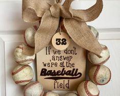 Baseball Wreath, Burlap With Initial Made Using Real Leather Baseballs Softball Wreath, Baseball Wreaths, Sports Wreaths, Baseball Crafts, Baseball Nursery, Baseball Mom, Baseball Field, Custom Wooden Signs, Wooden Tags