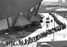 Fans line up outside Market Square Arena to purchase tickets for Elvis in 1977 his last performance.