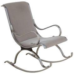 Chrome Framed Mohair Upholstered Rocking Chair, 1970s