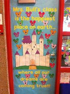 Teacher is a disneyland fan! Put each child's picture on the Mickey Mouse ears. Mickey Mouse Classroom, Disney Classroom, Classroom Door, Classroom Displays, Preschool Classroom, Future Classroom, Classroom Themes, Kindergarten, Teacher Door Decorations