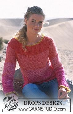 Knitted DROPS jumper with raglan in Muskat and Vivaldi