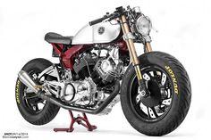 Yamaha Virago resto mod by Greg Hageman Cafe Racer Motorcycle, Motorcycle Design, Bike Design, Motorcycle Gear, Yamaha Virago, Virago Cafe Racer, Triumph Scrambler, Vintage Motorcycle Parts, Vintage Motorcycles