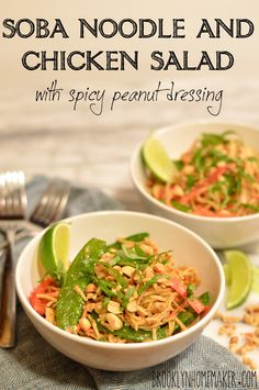 soba noodle and chicken salad with spicy peanut dressing | Brooklyn Homemaker