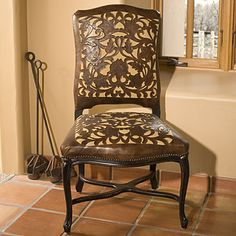 Hand Tooled leather side chair from Kemo Sabe