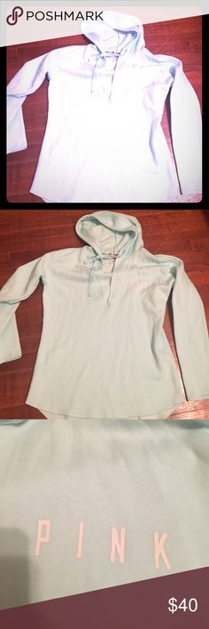 VS PINK OVERSIZED HOODIE! EUC! Like new! Very soft on the inside! It's a VNeck hoodie! Size Large! So perfect! He color is like a tealish color. FEEL FREE TO ASK ANY QUESTIONS! PINK Victoria's Secret Tops Sweatshirts & Hoodies