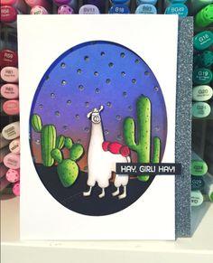 Llama Love stamp set and Snowfall - Vertical Die-namics - Jodene Tripp #mftstamps