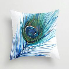 Off Sale - Accent Pillow - Watercolor Throw Pillow Cover - Peacock Feather - Art Painting - Decorative Pillow - Home Decor - Houseware Fabric Painting, Fabric Art, Custom Pillows, Decorative Throw Pillows, Fabric Paint Designs, Peacock Decor, Feather Art, Peacock Feathers, Modern Pillows