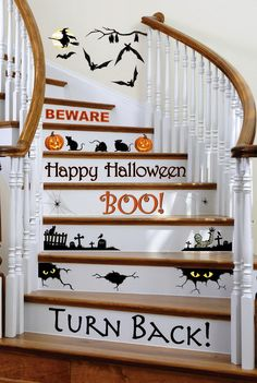 Halloween Stair Decals from Collections, Etc. Three sheets of haunted-house decals decorate wood, tile and linoleum stair risers and more. They can be removed and reapplied without leaving marks. Get your rebate from RebateGiant. Spooky Halloween, Halloween Orange, Holidays Halloween, Halloween Crafts, Happy Halloween, Halloween Decorations, Halloween Party, Halloween Vinyl, Halloween Garland