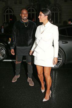 Kim Kardashian wearing an A.W.A.K.E dress and Gianvito Rossi shoes.