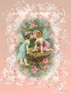 Digital collage sheet, vintage,  Imaginations Sheet 10, instant download, cherubs, backgrounds cards tags