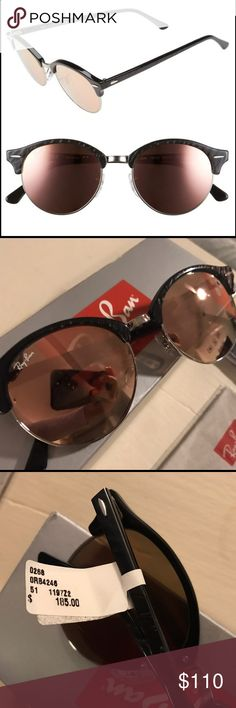 Ray Ban Sunglasses Brand new! Comes in a box with a case and cloth.                                             🕶 Mirrored lenses//black frames.                                                                                               •51mm lens width; 19mm bridge width; 145mm temple length.                            •100% UV protection. •Acetate/metal. Ray-Ban Accessories Sunglasses