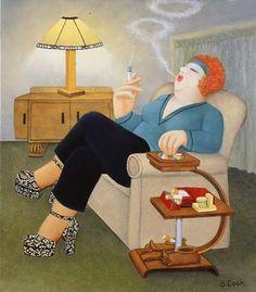"Beryl Cook (British, 1926–2008)  ""smokers delight"""